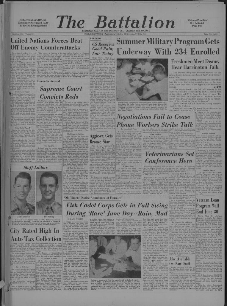 The Battalion College Station Tex 1893 Current June 05 1951 Image 1 Texas AM Newspaper Collection